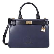 michael kors tatiana small leather satchel navy blue black