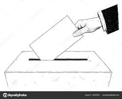 ベクトル芸術的なイラストや投票箱に封筒を置く有権者手の図面
