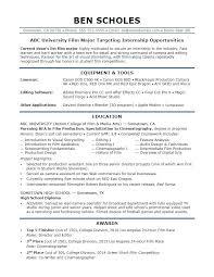 It Internship Resume Samples Sample Resume For A Film Industry Internship Best Resume