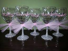 bridesmaid glitter stemmed wine glasses bride and groom glasses bridesmaids mothers of bride groom personal attendants wedding presents