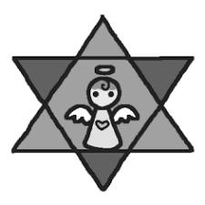 星モノクロ天使ミニカットクリスマス無料イラスト素材