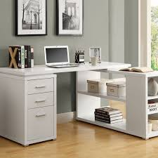 complete minimalist home office using white desk with drawers and shelves on laminate teak flooring