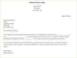 2 Week Resignation Letter Best Two Weeks Notice Letters Resignation Letter Templates Format Sample