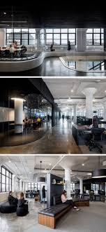 in this new york office space theres curved tinted glass areas with custom curved seating airbnb cool office design train tracks