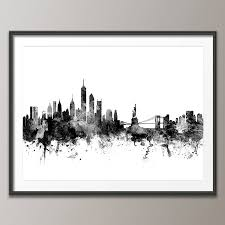 new york skyline cityscape black and white panoramic canvas large canvas art print poster frame not included