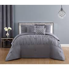reina 6 piece light grey twin comforter set with rhinestone trim