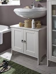 Waschtisch Unterschrank 65x56x38cm Mit 2 Türen Kiefer Massiv Weiß