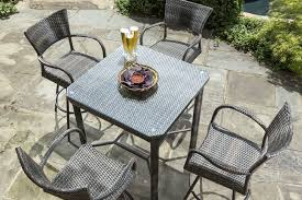 wicker bar height dining table: alfresco home tutto  square all weather wicker bar height dining set with two swivel bar