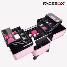 2016 Facebox Brand Three Layer Makeup Box with Trolley Beauty Case with  wheels Professional makeup box 4 wheels Black and Pink-in Cosmetic Bags &  Cases from ...