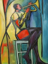 abstract painting jazz trumpet player by angelo thomas