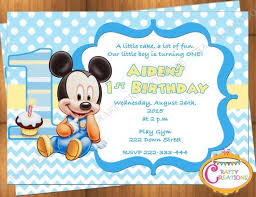 mickey mouse party invitation baby mickey mouse first birthday invitation mickey mouse