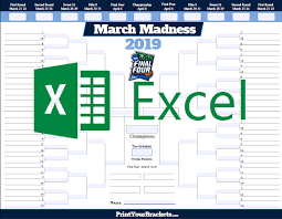 Excel Ncaa Tournament Bracket Excel Template Ncaa March Madness Bracket 2019