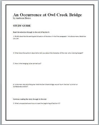 an occurrence at owl creek bridge teaching resources teachers   an occurrence at owl creek bridge study guide questions and text