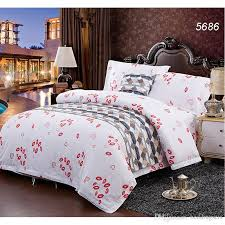 red lips white cotton bedding set home hotel brief bed clothes twin queen king size bed linens quilt duvet cover set hot 5686 hotel bedding red lips
