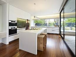 modern white kitchen furniture at home design concept without symmetrically  garaged