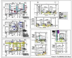 Toilet Plumbing Detail With Pipes And Fittings Autocad Dwg