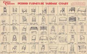 Yardage Chart Vintage Kitsch Couture Period Furniture Yardage Chart