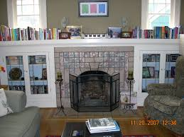 ... Casual Interior Decoration With Shelving Around Fireplace : Handsome  Living Room Decoration Using Glossy Stone Tile ...