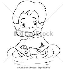 kid swimming clipart black and white. Modren Clipart Boy And Inflatable Swim Ring  Csp5393846 Throughout Kid Swimming Clipart Black And White A