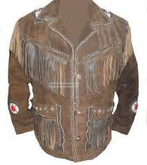 western fringed beads quality leather jacket