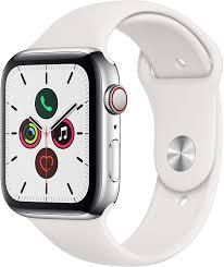 Apple Watch Series 5 (GPS + Cellular, 44 mm) Edelstahlgehäuse -  Sportarmband Weiß: Amazon.de: Alle Produkte