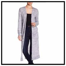 Susina Navy Heather Grey Marled Knit Long Duster Maxi With Pockets Cardigan Size 12 L