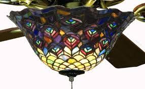 stained glass ceiling fan. Tiffany Street 25021 Peacock Stained Glass Ceiling Fan Light Kit C