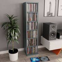 <b>CD Cabinet 21x20x88</b> cm Chipboard High Gloss Grey -