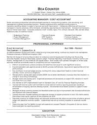 Accounting Manager Resume 2 Cost Accountant Resume