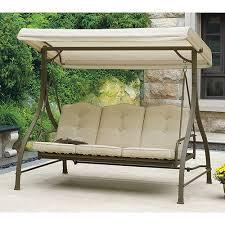 Mainstays 3 Seat Porch & Patio Swing Tan Relaxing Hammock
