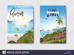 Sunrise Landscape And Design Set Summer Sunrise Landscape Tropical Beach Badge Design