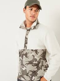 Sherpa <b>Camo</b>-<b>Block</b> Mock-Neck Henley <b>Sweatshirt</b> for <b>Men</b> | Old Navy