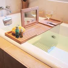wine and book holder for bathtub ideas