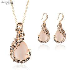whole unique rose gold pea jewelry sets for women vine pendant necklace earrings stud womens costume
