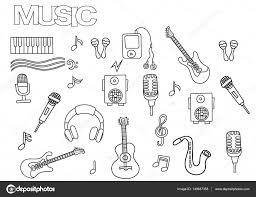 Hand Getrokken Muziek Set Kleurplaat Boek Paginasjabloon Overzicht