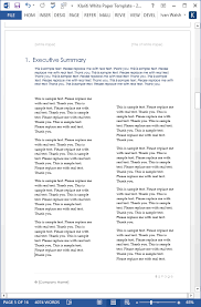 white papers ms word templates tutorials in the executive summary page the first section is one column across the following sections displayed in two columns this provides a nice visual