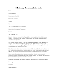 Scholarship Recommendation Letter Pdf Example Good Resume Template