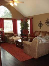 Warm family room; red's and browns.