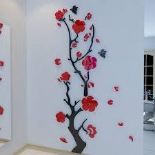 alicemall red wall sticker stunning red plum flower 3d wall art