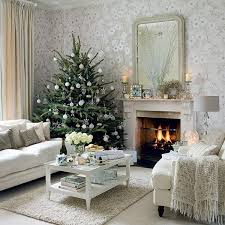 Silver And White Living Room Decorations White Christmas Living Room Decoration Featuring