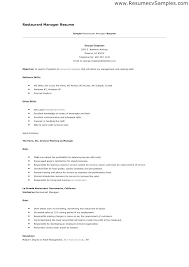 example of restaurant resume resume examples for restaurant manager resume