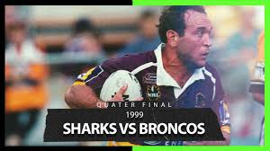 Matt moylan of the sharks passes during the round 16 nrl match between the cronulla sharks and the brisbane broncos at shark park on july 07, 2019 in sydney, australia. Sharks V Broncos Qualifying Final 1999 Full Match Replay Nrl Youtube