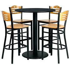 round bar top table set of round high top restaurant cafe bar table and wood seat