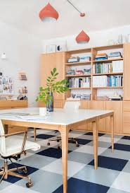 home office workspace wooden furniture. Gorgeous Organized Office Workspace With Light Wood Furniture And Plaid Floor Home Wooden A