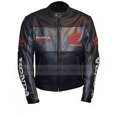 racing honda motorcycle leather black jacket zoom racing