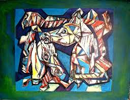 head of horse composition painting 40x30 in 1994 by vicente fabre expressionism