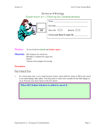 Iki Solution Science 9 Biology Experiment 6 1 Testing For