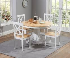 elstree 120cm painted oak white round dining table 4 chairs