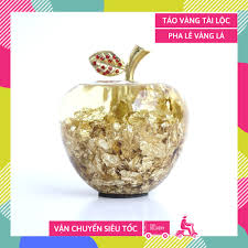 Quả táo vàng lá thần tài giàu có tài lộc thờ Thần Tài, trang trí, quà tặng  may mắn cực đẹp - Cao 10cm - Vật phẩm phong thủy khác Nhãn hàng