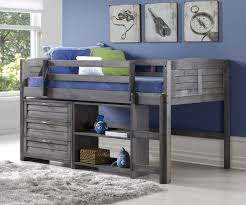 Louvered Bedroom Furniture Louver Low Loft Bed With Storage Antique Grey 790aag C Donco